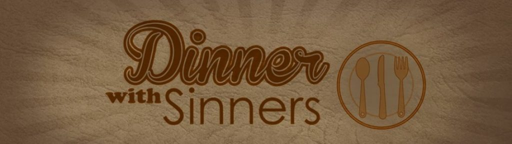 Dinner With Sinners banner showing the title text on a brown leather background and a dinner plate with silverware on it.